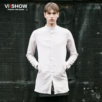 VIISHOW春季男士长袖衬衫 纯色修身款寸衫青少年衣服男装衬衣