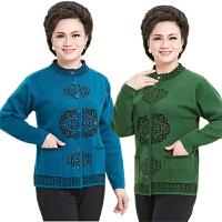 新品中老年毛衣冬新款妈妈装 唐装羊毛衫加厚长袖开衫女装外套