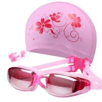 女士游泳帽男游泳镜套装游泳装备时尚印花大头PU防水长发泳帽