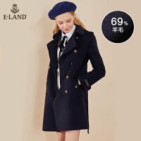 【到手价:1259元】ELAND冬季欧美大气双排扣系带中长款毛呢外套女EEJW84T07A