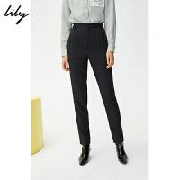 【2件3折 折后价:157】LILY春款女装气质条纹小脚高腰铅笔裤烟管西装裤5210