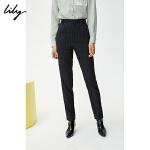 【超值一口价:159】LILY春款 女装气质条纹小脚高腰铅笔裤烟管西装裤5210