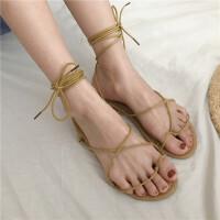 夏季韩国气质绑带休闲鞋女凉鞋交叉系带露趾平底鞋百搭学生女鞋子