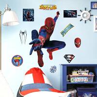 蜘蛛侠卡通墙贴画海报纸儿童房男孩卧室床头背景墙壁墙面装饰贴纸