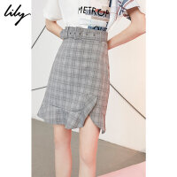【9.27 Lily超级品牌日 全场2件4折】Lily2018夏新款女装腰带修身鱼尾半身裙格纹半身裙118220C65