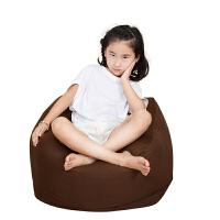 儿童懒人沙发婴儿迷你宝宝豆袋小榻榻米幼儿园沙发创意可爱软座椅 咖啡色中号 50*50cm