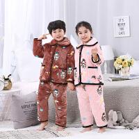 秋冬季儿童法兰绒睡衣男童女童家居服男孩宝宝珊瑚绒套装