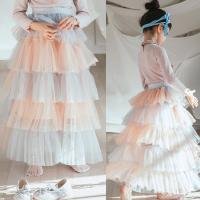 韩国童装2018春装新款女童梦幻多层半身裙韩版女孩网纱长款礼服裙