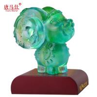 【包邮】属羊2018年生肖羊琉璃摆件开运招财吉祥物广州特色礼品