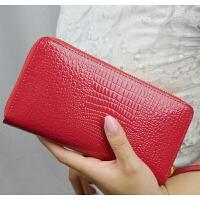 七夕礼物新款女士钱包长款鳄鱼纹拉链钱夹大容量手机皮夹时尚手拿包女 红色