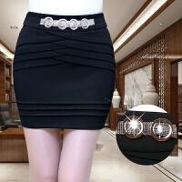 包裙弹力包臀裙半身裙秋冬新款职业松紧腰修身显瘦黑色女短裙 黑色
