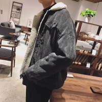 2018秋季新款加绒外套男冬季加厚灯芯绒棉衣男士夹克短款仿羊羔毛领棉袄男装潮 X