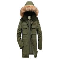 军装新款可拆卸帽工装休闲风衣外套 加厚立领保暖棉衣男