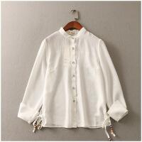 夏季新品圆领宽松薄款纯色长袖单排扣雪纺衫女51967