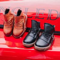 2017儿童加绒高帮皮鞋宝宝皮靴新款男童皮鞋冬季保暖时尚休闲潮鞋