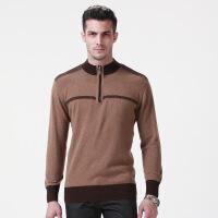 秋冬新款男式山羊绒衫半高拉链商务毛衣套头针织衫