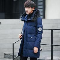 新款羽绒服男士中长款修身加厚貉子毛领冬季连帽保暖大衣外套
