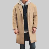 韩版毛呢大衣男中长款秋冬新款双面羊绒大衣青年风衣宽松外套加厚