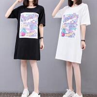 大码女装夏装2018新款遮肚上衣韩版宽松显瘦中长款短袖T恤女