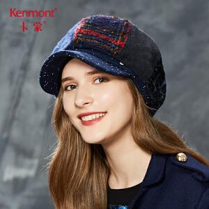 卡蒙贝雷帽女秋冬季百搭鸭舌帽韩版甜美可爱八角帽英伦毛呢帽子2602