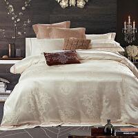 家纺欧式床上用品全棉纯棉四件套绸缎冰丝床单公主风夏2.0m欧美风 米白色 西雅图之恋