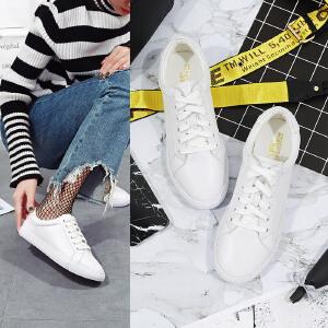 【满200减100】毅雅街拍小白鞋女系带百搭透气2017夏季新款韩版平底单鞋学生白色板鞋YQ7WY6867