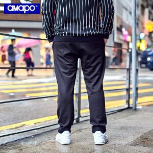 【限时抢购到手价:90元】AMAPO潮牌大码男装潮胖子肥佬加肥加大号松紧腰直筒运动休闲长裤