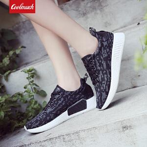 【满100减50/满200减100】Coolmuch女子跑步鞋轻便百搭迷彩网面透气运动休闲跑步鞋KMC18