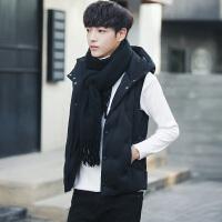 男士秋冬季短款帅气连帽马甲男款学生冬季修身保暖棉衣韩版外套潮 黑色