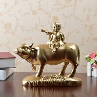中式创意家居装饰工艺品客厅酒柜摆设牧童骑黄牛树脂雕塑摆件