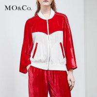 MOCO夏季新品立领丝绒短款棒球外套MA182JKT106 摩安珂