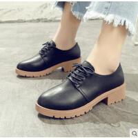 英伦风女鞋原宿复古小皮鞋女新款粗跟中跟单鞋学生鞋子女