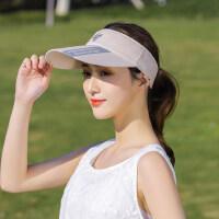 户外帽子女韩版潮百搭时尚空顶帽跑步运动运动防晒漏马尾遮阳太阳帽