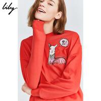 【不打烊价:209元】 Lily2019冬新款女装年轻多色动物刺绣宽松落肩上衣圆领卫衣8979