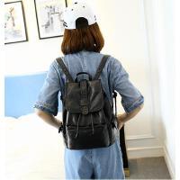 新款时尚简约百搭女士软双肩包女皮pu可爱萌旅行背包潮 可礼品卡支付