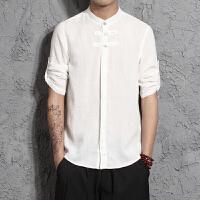 中国风男装男士唐装棉麻亚麻衬衫男盘扣休闲上衣打底衫大码七分袖