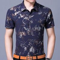 夏装新款中年男士短袖衬衫商务宽松印花碎花T恤爸爸装