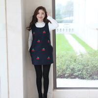 大码女装2018春冬装新款樱桃显瘦无袖毛呢背心连衣裙