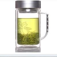 富光双层玻璃杯水杯 带盖过滤玻璃茶杯520大容量办公口杯