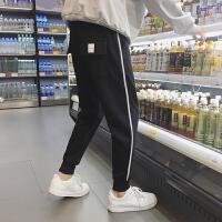2018春季男士抽绳运动卫裤韩版宽青年松束脚小脚休闲裤