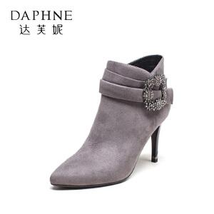达芙妮集团鞋柜秋冬水钻细跟高跟鞋尖头方扣简约短靴女-1
