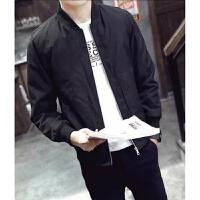 新款男士纯色立领夹克青年韩版潮流修身型夹克长袖外套 黑色