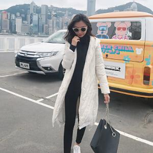 Freefeel 2018新款羽绒棉服女中长款磨砂面料气质休闲棉衣XY-8812