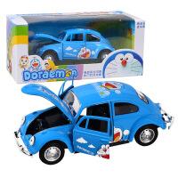 粉色小猫车玩具卡通猫合金车模 合金回力可开门模型 甲壳虫玩具车 蓝色