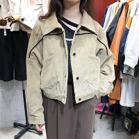 现货ulzzang2017秋装新款Polo领宽松短外套时尚简约单排扣外搭女