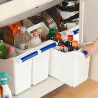 日本塑料收纳箱厨房食物整理箱抽屉透明橱柜储物箱带滑号 白色 一个 大号