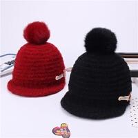 秋冬儿童帽子毛球针织毛线帽男女童软檐鸭舌帽宝宝冬天保暖棒球帽