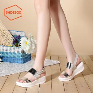 达芙妮旗下shoebox鞋柜夏休闲坡跟百搭松糕女鞋一字扣带中跟凉鞋