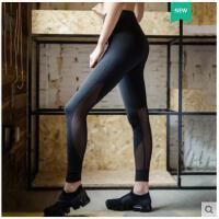 时尚拼接网纱运动长裤跑步裤速干打底瑜伽裤女高腰健身裤显瘦弹力紧身