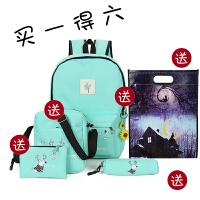 帆布韩版双肩包女包潮时尚休闲中小学生子母书包旅行可爱校园背包